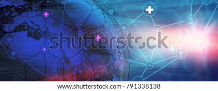 Abstract Worldwide Health Care Background. Illustration of  Futuristic Medical Technology Concept. Blank Space for Your Contents, Template, Communication, Business and Web Design
