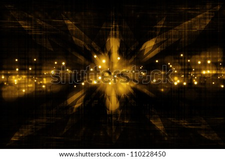 abstract yellow arrow in dark background