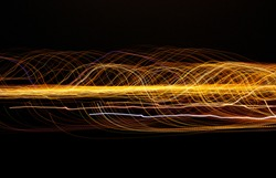 Abstract yellow background using light painting