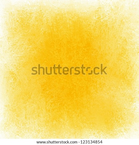 abstract yellow background white grunge border, bright primary yellow color with white edges, vintage grunge background texture color splash on white blank center for brochure text fun gold background