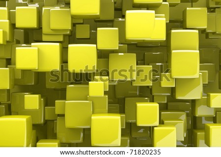Abstract yellow 3d cubes
