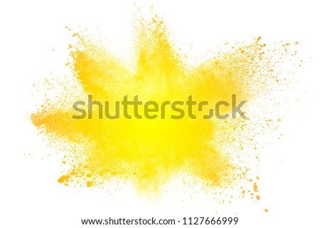 abstract  yellow dust explosion on white background. abstract yellow powder splattered on  background. #1127666999