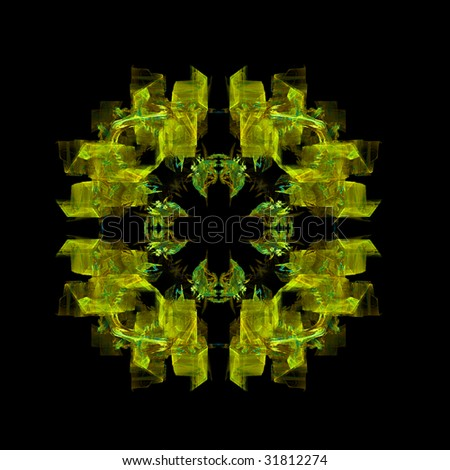 Abstract yellow symmetrical abstract fractal background