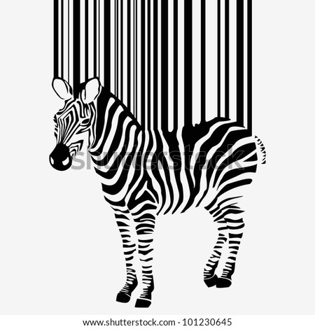 abstract  zebra silhouette with barcode - vector version in portfolio