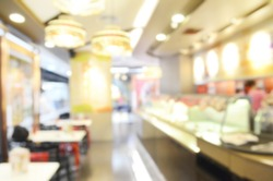 Abstracted blurry background  of luxurious  ice cream shop