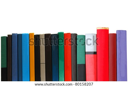 Abstracting selecting books in row - stock photo