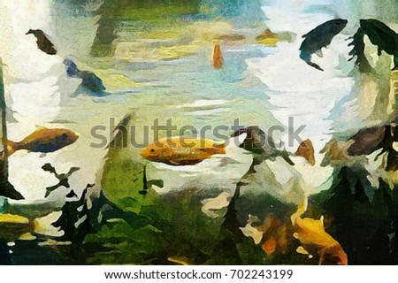 Abstraction. Fish in the pond or aquarium. Executed in oil on canvas with elements of acrylic painting. Painting in the style of Edvard Munch