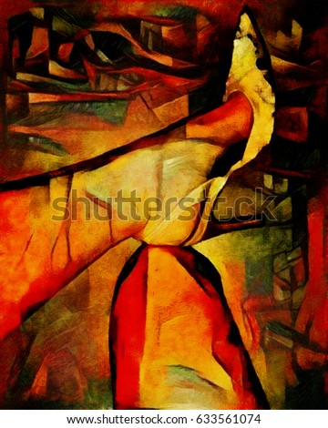 Abstraction. Foot on the foot as a symbol of strength and independence of women. Designed in a modern style underground. Oil on canvas with elements of pastel painting. For interior or gift.