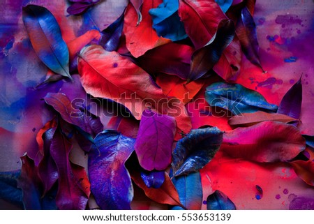 Stock Photo Abstraction from the leaves, paint, fluorescent