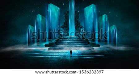 Abstraction, futuristic city of concrete and neon. Night city view, stairs up, illumination. Dark street, abstract scene, neon rays.
