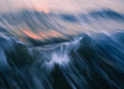 Abstraction. Long exposure blurred waves.