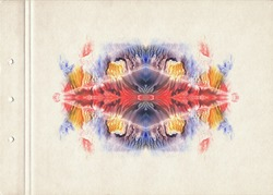 Abstraction watercolor  background. Colorful symmetric blotch. Watercolor painting on old paper. Vintage style.
