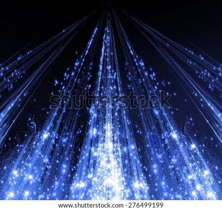 Abstraction with laser beams and flare sparks and the stars are shining in the darkness, blue monochrome light descends in the form. Fractal graphics