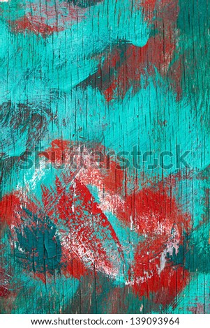 Abstractly painted wooden surface