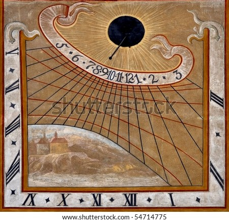 abstractly wall painting: old sundial