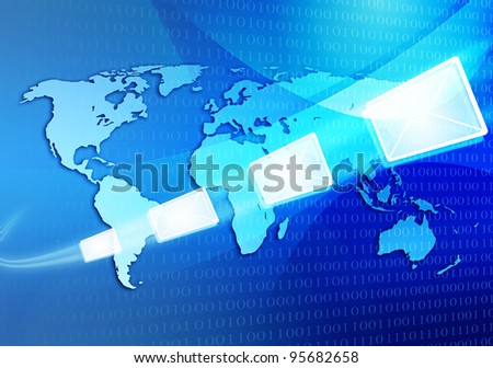 abtract iilustration of email message travelling via internet around the world map