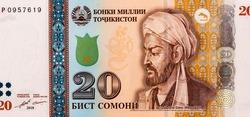 Abu Ali ibn Sina (Avicenna) (980-1037), great scientist, Persian encyclopaedist of the Tajik people. Portrait from Tajikistan 20 Somoni 1999 Banknotes.