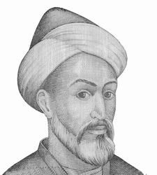 Abu Ali ibn Sina (Avicenna) (980-1037), great scientist, Persian encyclopaedist of the Tajik people. Portrait from Tajikistan  Banknotes.