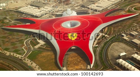 ABU DHABI, UAE -  APRIL 07: Ferrari World Park is the largest indoor amusement park in the world. Abu Dhabi on April 07, 2012. Bird's eye view
