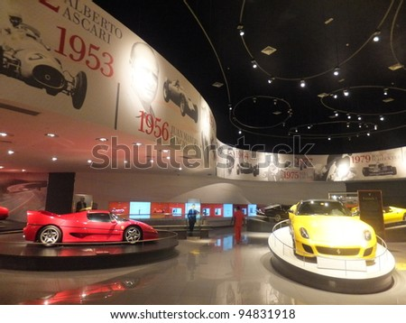 ABU DHABI, UAE - DEC 22: Ferrari car on display at Ferrari World on Yas Island in Abu Dubai in the UAE on December 22, 2011. Ferrari World is the largest indoor amusement park in the world.