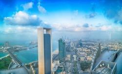 ABU DHABI, UAE - DECEMBER 8, 2016: Panoramic sunset city skyline. Abu Dhabi attracts 10 million people annually.