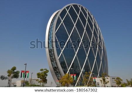 ABU DHABI, UAE - FEB 15: Aldar Headquarters Building in Abu Dhabi, UAE, as seen on Feb 15, 2014. It is the first circular building of its kind in the Middle East.