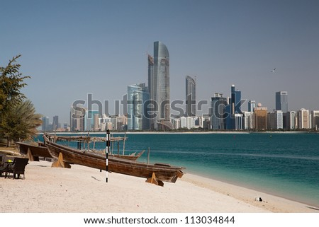 ABU DHABI , UAE - FEBRUARY 5: On the beach in modern arabic city Abu Dhabi , UAE on February 5, 2012.