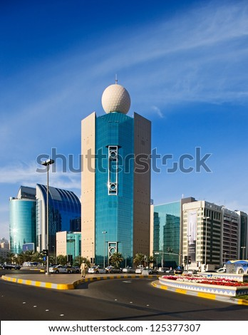 ABU DHABI, UAE - JANUARY 29 - Etisalat  Building is a headquarters of the Emirates Telecommunications Corporation seen. Picture taken from the Corniche direction on January 29, 2009.