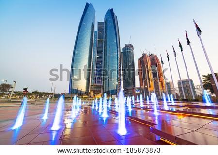 ABU DHABI, UAE - MARCH 28: Etihad Towers buildings in Abu Dhabi on March 28, 2014, UAE. Five towers complex with 74 floors is the third tallest building in Abu Dhabi.