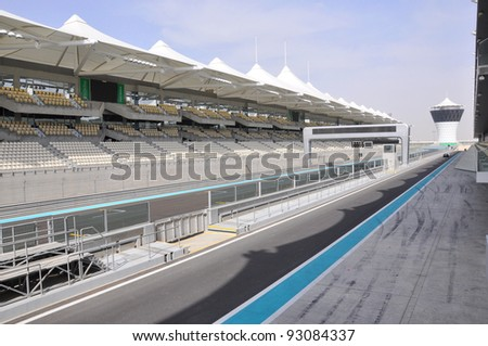 ABU DHABI, UAE - MARCH 7: The Yas Marina Grand Prix Circuit on March 7. 2011 in Abu Dhabi. The Formula 1 racetrack has on 161.9 ha area 5.5 km length, 41093 seating capacity. Opened October 2009