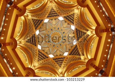 ABU DHABI, UAE - MAY 26: Dome decoration in Emirates Palace hotel on May 26, 2011. Emirates Palace is a luxurious and the most expensive 7 star hotel designed by renowned architect, John Elliott RIBA.
