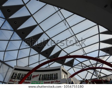 ABU DHABI, UAE - NOVEMBER 25 2017: Ferrari World Abu Dhabi - the first Ferrari-branded theme park. Amusement park on Yas Island in United Arab Emirates #1056755180