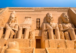 abu simbel egypt as ancient Egypt's Cathedral is made up of two large stone blocks. There is a statue of the pharaoh four.