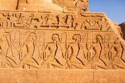 Abu Simbel temple in Egypt. Colossus of The Great Temple of Ramesses II. Africa.