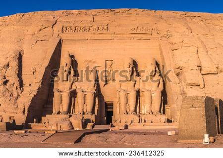 Abu Simbel temples on sunrise, Abu Simbel, Egypt. UNESCO World Heritage #236412325