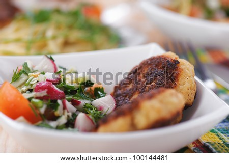 abundance of food on kitchen wooden table on napkin and fork with bowl of salad (radishes, tomatoes, parsley, eggs), meat katlety (pork, beef, lamb)
