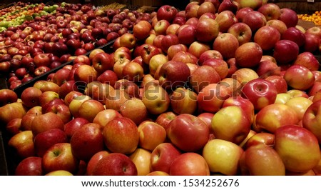 Abundance of Freshly Picked, Ripe, Red Apples, Shown in Farmer's Market Style; Fall is in the Air Ideas; Apple Picking