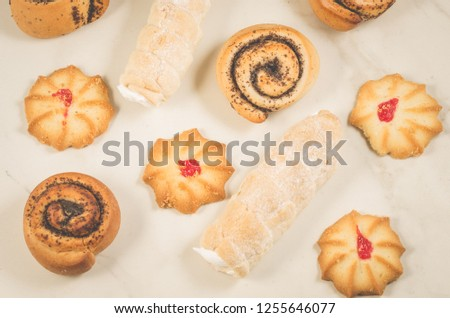 abundance of pastries on a white background/abundance of pastries on a white background, top view