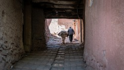 Abyaneh, Iran - May 2019: Unidentified old man and his donkey walking in the traditional village of Abyaneh