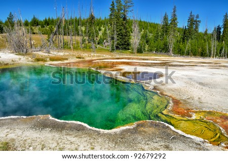 Abyss Pool in West Thumb Geyser Basin, Yellowstone National Park - stock photo