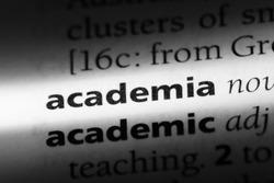 academia word in a dictionary. academia concept.