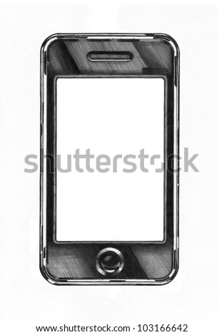 academic drawing of a smartphone