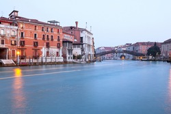 Academy bridge in evening on a long exposure.Grand Canal Venice, Italy.Ponte Academia.