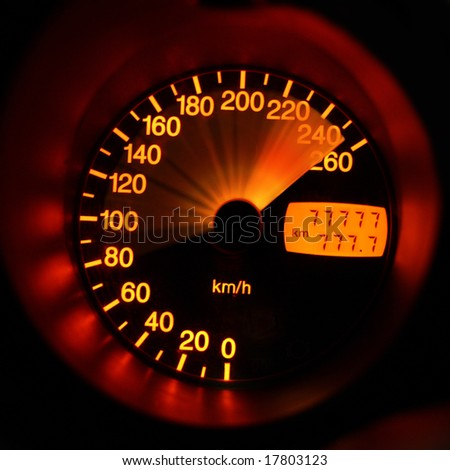 Accelerating sport-car speedometer closeup - stock photo