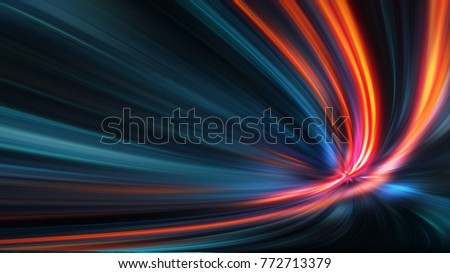 Acceleration speed motion on night road. Abstract blue background, beautiful lines and blur. 3d Illustration