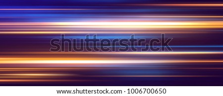 Acceleration speed motion on night road. Light and stripes moving fast over dark background. Abstract colorful Illustration. stock photo