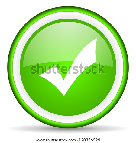 accept green glossy icon on white background