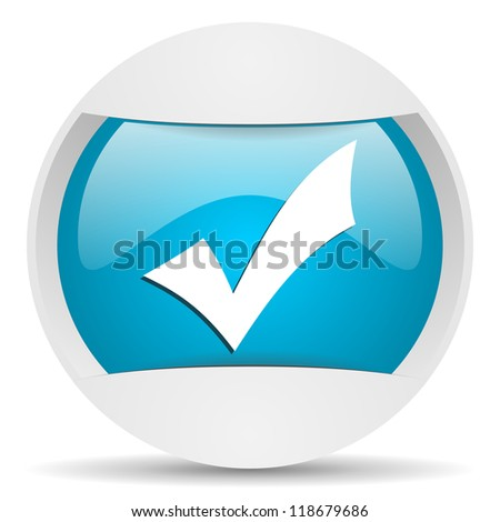 accept round blue web icon on white background
