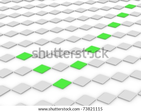 accept symbol made of green rhombs - stock photo