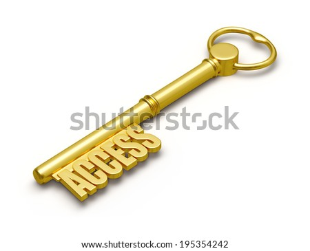 Access Concept - Golden Access Key Made Of Gold Isolated On White ...